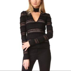 Nwot Cinq a Sept Cecily black v neck blouse top S